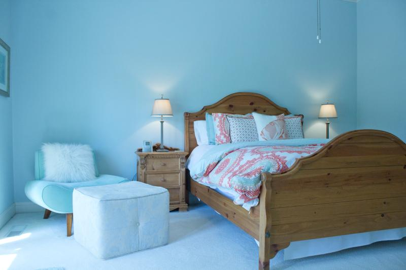 Queen Sized Bed and Ensuite in the Blue Room, and TV