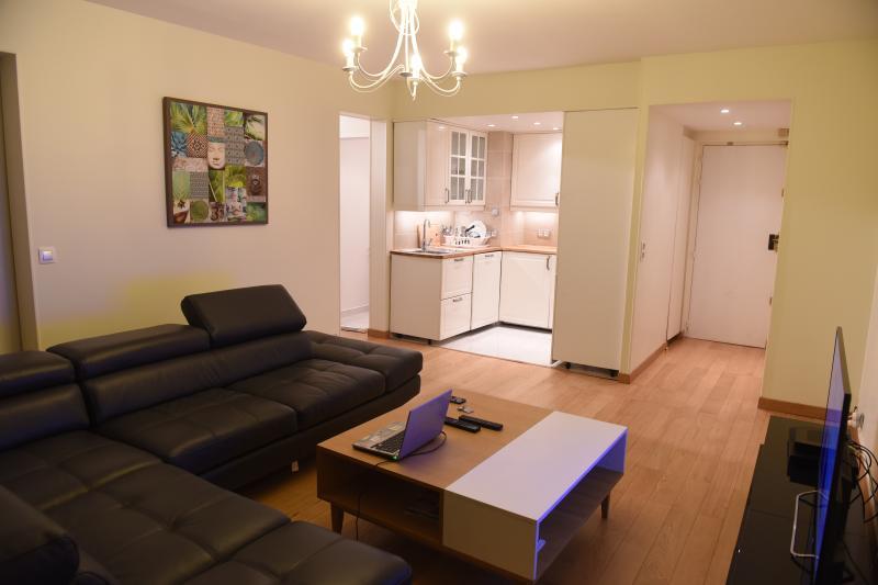 Séjour avec vue sur la cuisine et entrée principale / Living room with view on kitchen, & entrance