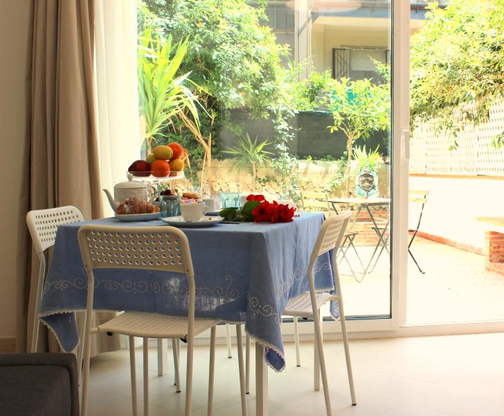 Breakfast in the living room overlooking the private garden