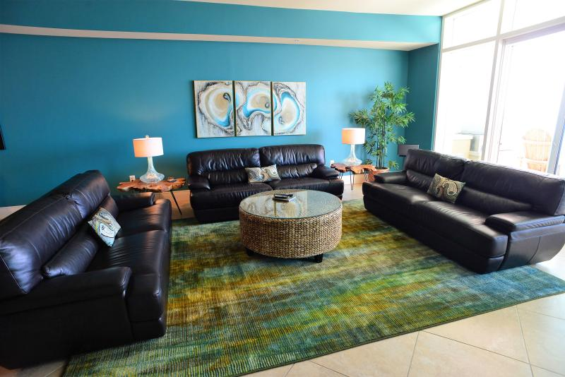3 leather sofas, custom artwork, high-end electronics, SONOS speakers, tons entertainment space!