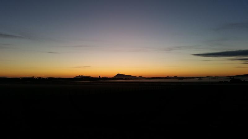 Early morning looking across to Eaval, North Uist.