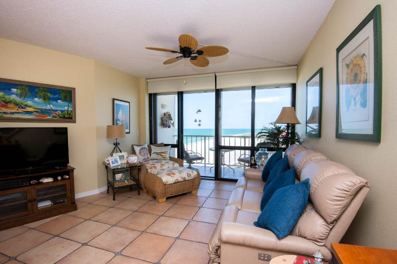 View of the living room and lanai from the dining area