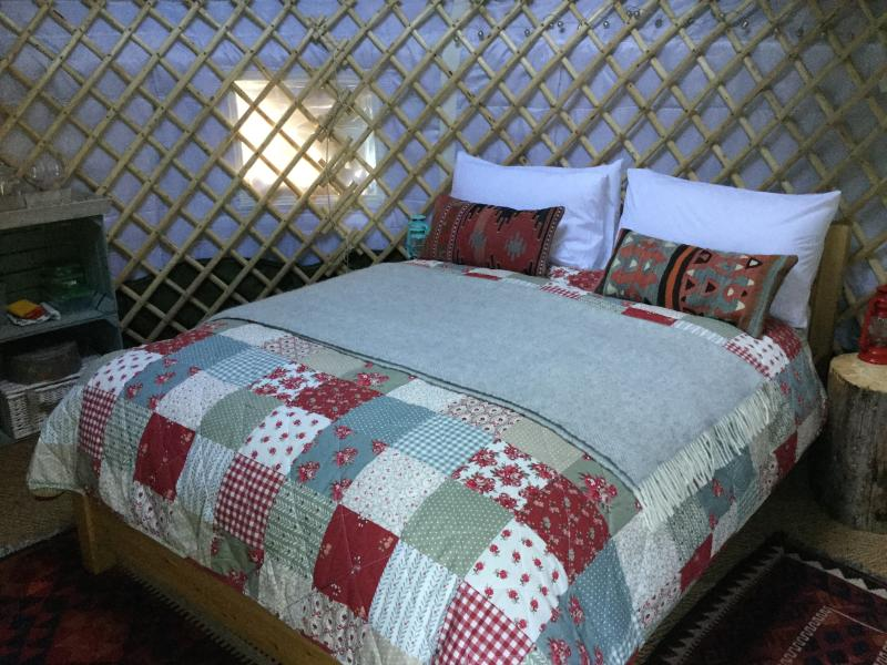 Cosy and romantic, the south yurt has all you need for a relaxing break.