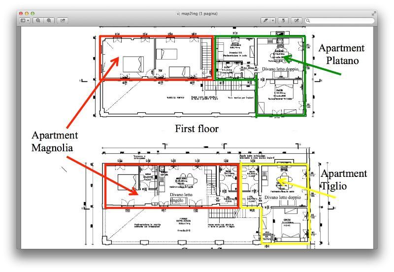 la piantina con i tre appartamenti - the map of the building