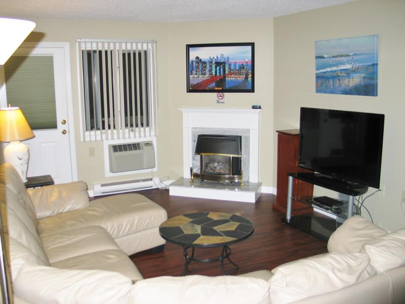 Living Room-50' LED TV, Air Conditioning, Gas Fireplace-Deck Access
