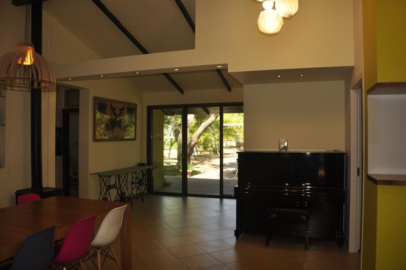 View of the dining table & back door & garden