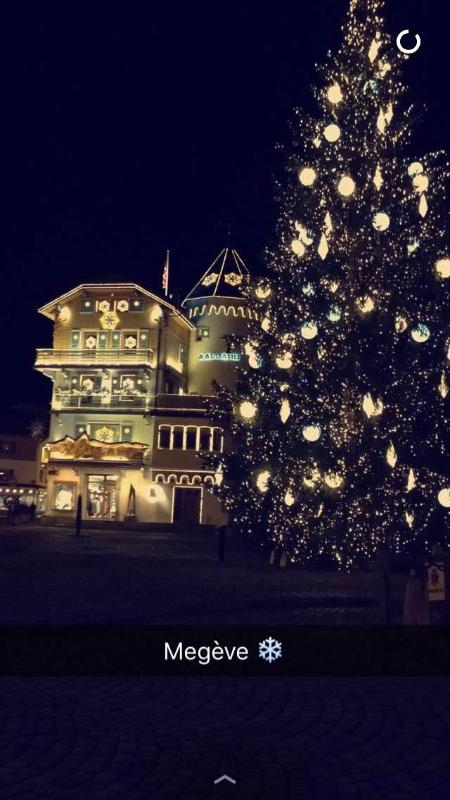 Christmas tree in the central square of Megeve