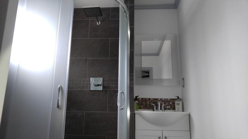 Granite shower with full seating bench