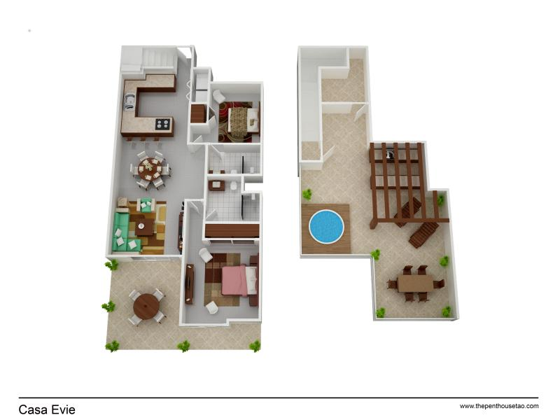 3D Layout  This penthouse is over  180m2 huge space