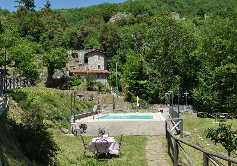 Mulino overlooking Pool and garden