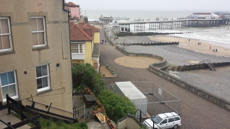 view of flat and sea and Cromer pier, directly in front of the sea