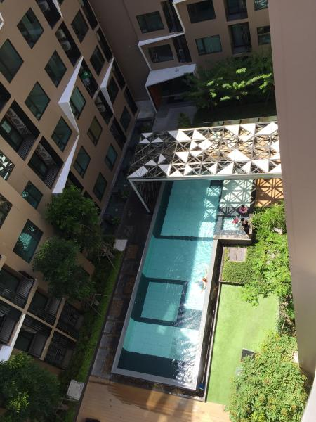 View from the apartment, overlooking the central courtyard pool and jaccuizi.