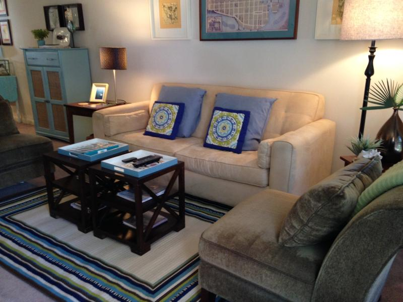 The living room offers space to relax or entertain.