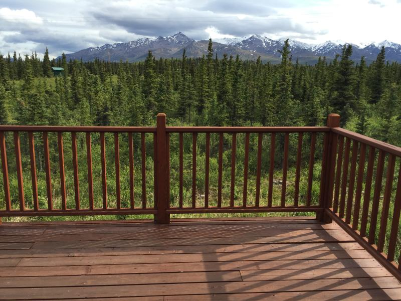 Back deck with beautiful views of the Alaska Range. Those mountains are in Denali National Park.