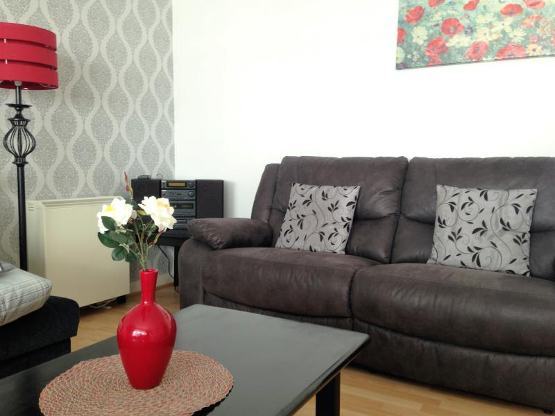 The newly decorated comfortable living room with recliner sofa and sofa bed.
