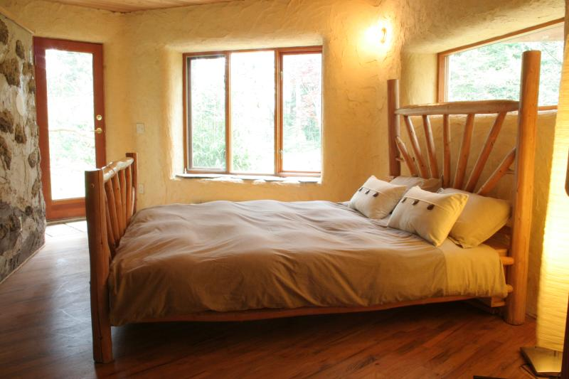 Master bedroom with walk-in closet and ensuite bathroom.