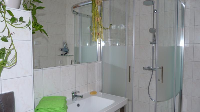 Badezimmer, Dusche und Waschbecken mit Spiegel
