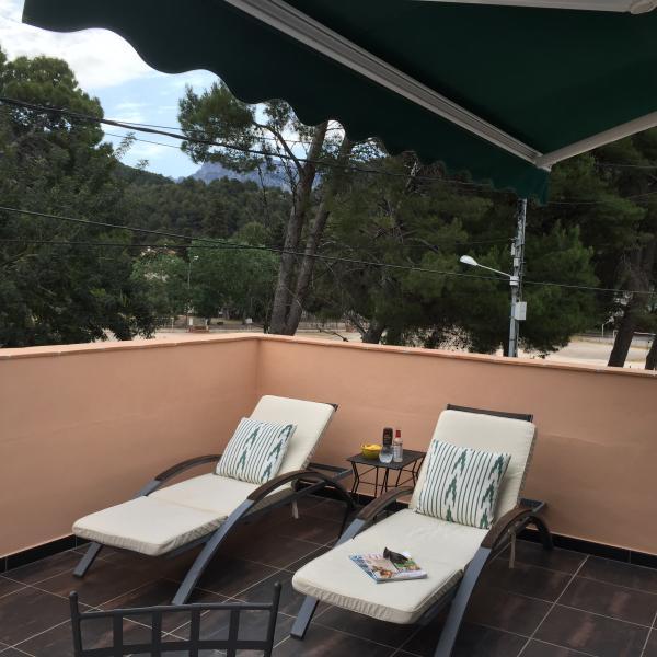 Sun loungers on terrace