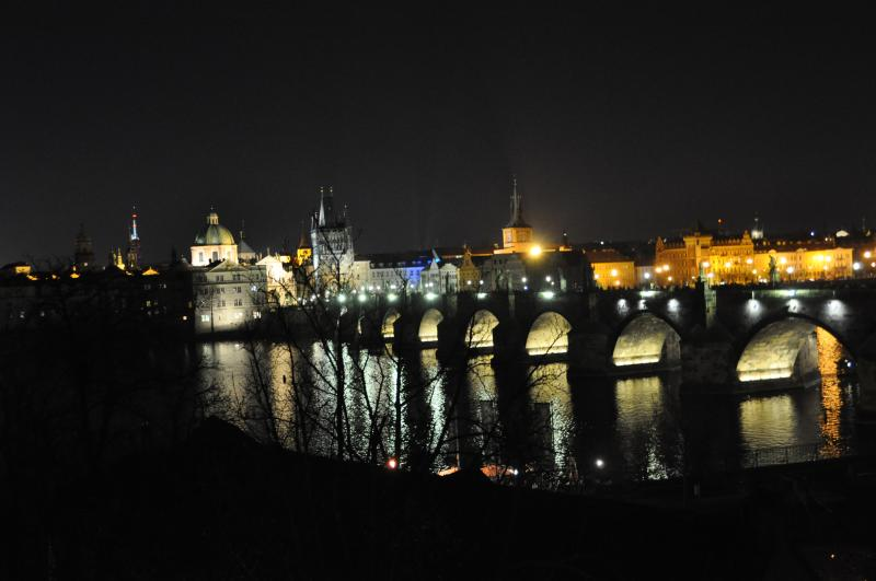 Night view of Charles Bridge from the apartment's dining room