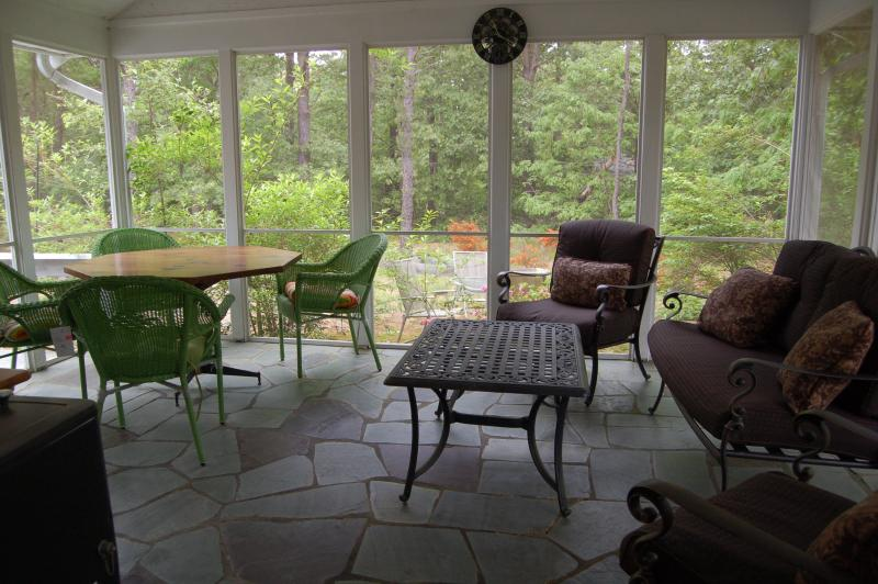 enclosed, screened patio