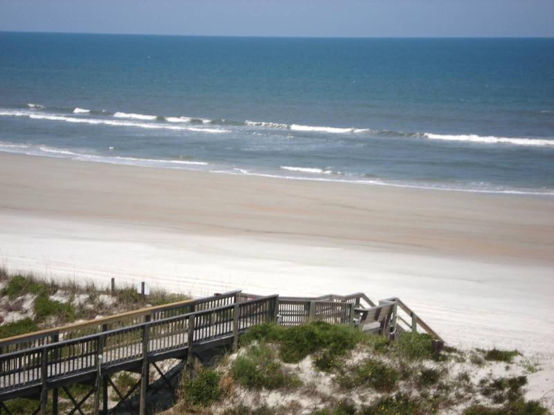 View from 305 of  private beach boardwalk to Crescent Beach