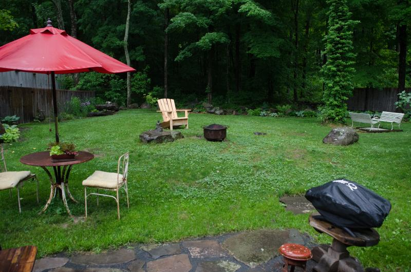 Cottage patio and yard