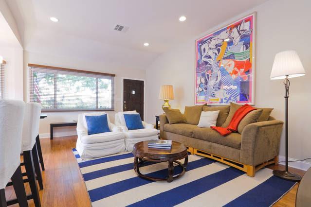 Living room and front door.