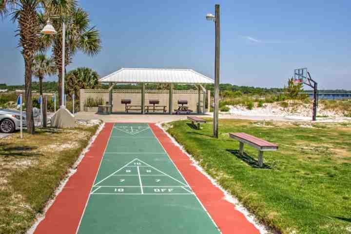 Shuffleboard and basketball courts