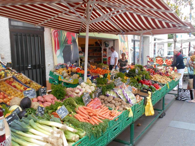 Lots of different produce at the market in St Laurent every Thursday and Sunday throughout the year.