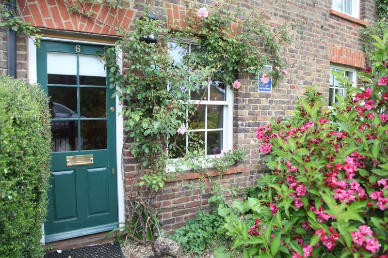 Albertine climbing roses round the window and front door of Old Post Cottage