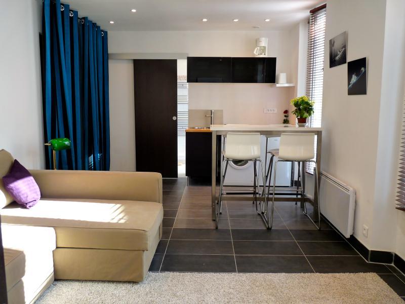 Angolo soggiorno, angolo cottura e bagno di sfondo
