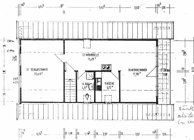 Grundriss der Ferienwohnung (64 qm)