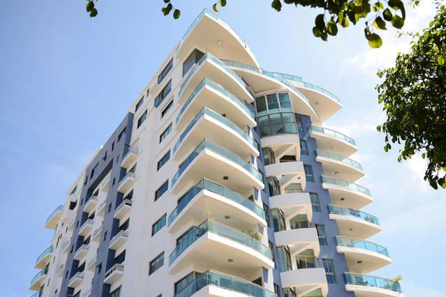 Award winning building with balconies in shapes of boat prows