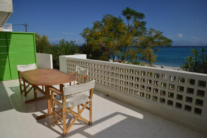 The table and the view from the veranda