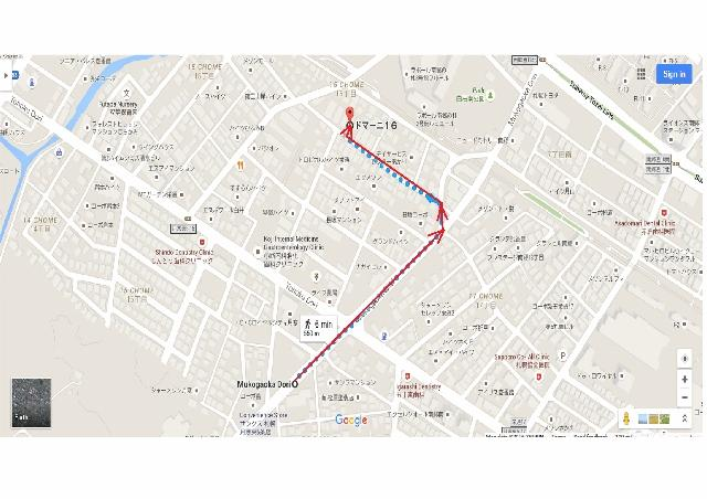 Walking route from bus stop to apartment