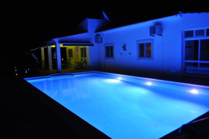 UV pool with multi  coloured changing LED lamps.