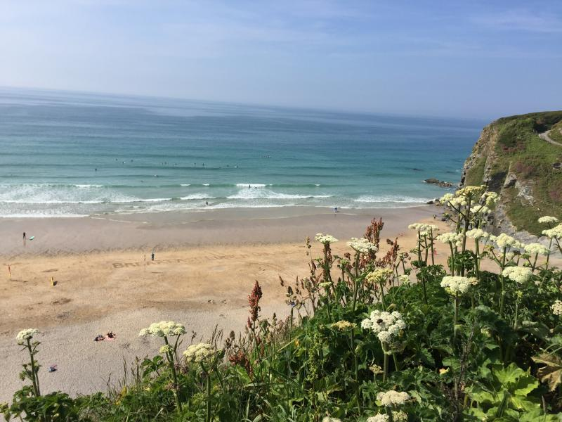 Tolcarne Beach is a 50 sec walk from the front door to the cliff top of Tolcarne Beach.