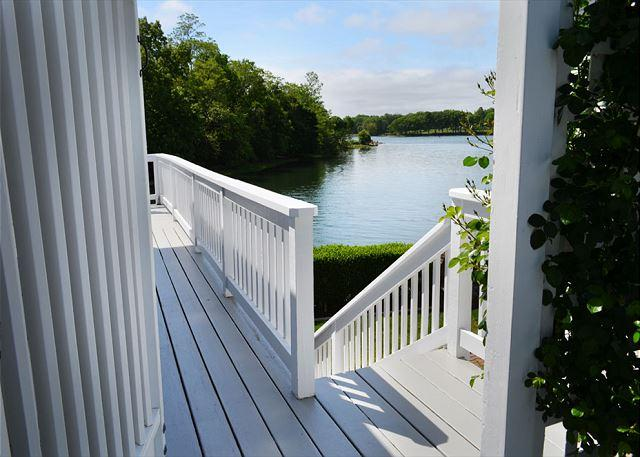 Entrance to deck and yard overlooking the tidal river.