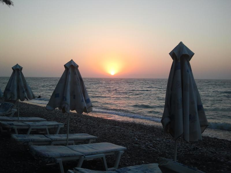 Ialyssos beach sunset only 5 minutes walking distance