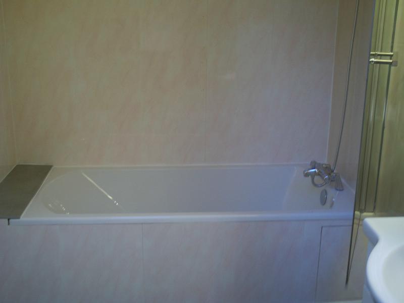 Bathroom floor with the tub