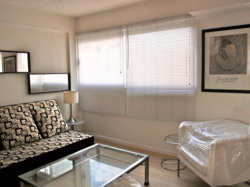 Sala  de estar , con grandes ventanales