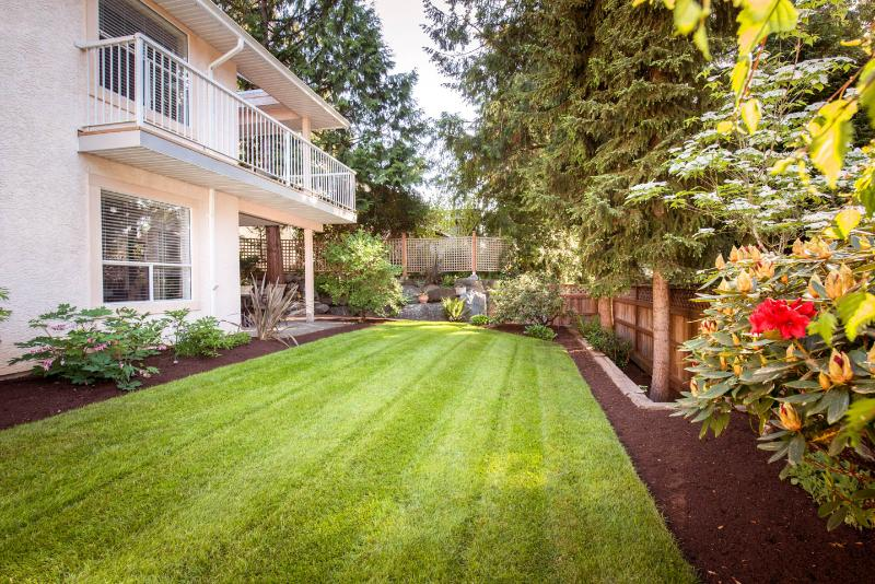 back yard view toward your lower garden patio