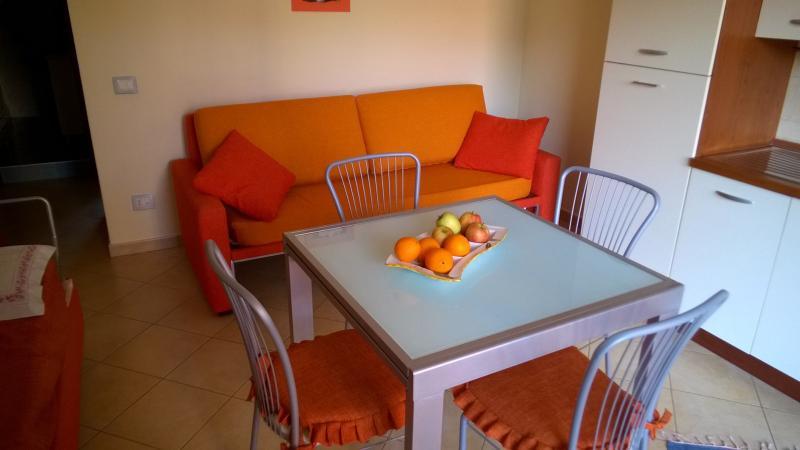Cucina/soggiorno. Il divano si sdoppia in letto singolo o letto matrimoniale.