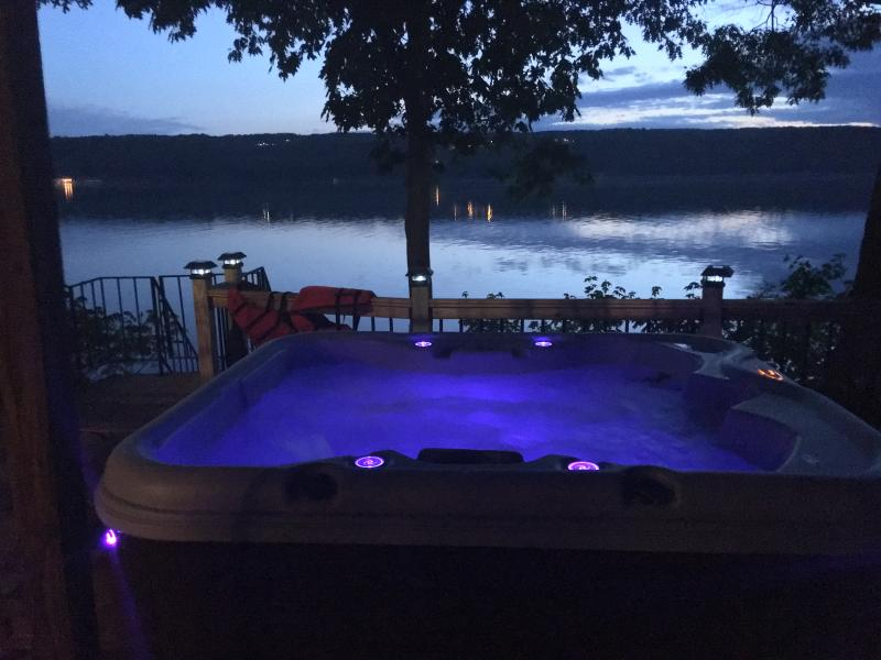 A view from the hot tub at twilight.