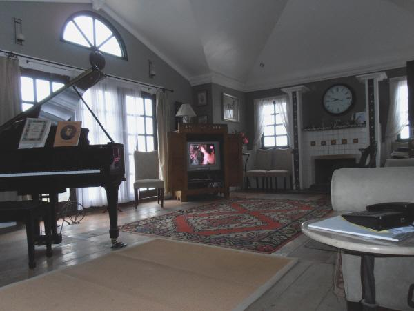 The shared livingroom with fireplace, games and videos for guests.