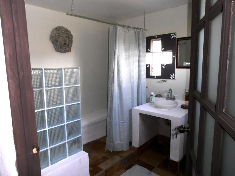 Large shower on a ground floor for seniors and/or disabled travelers.