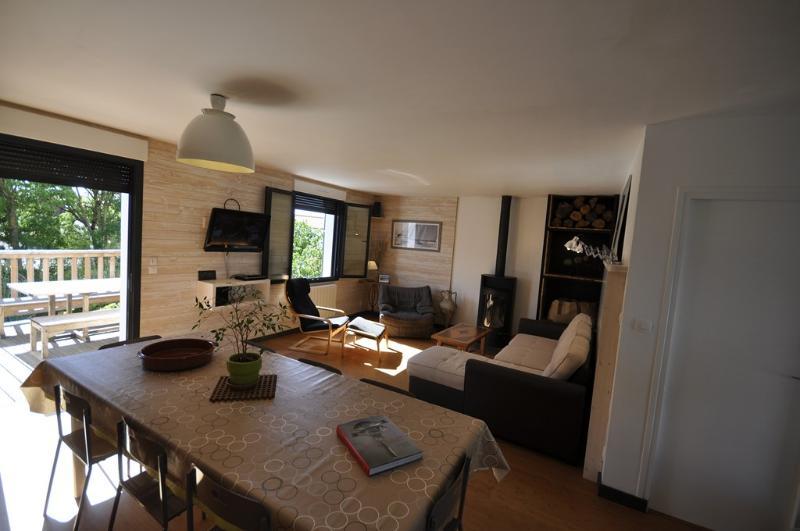 Salon donnant sur terrasse ensoleillée, poêle a bois, télévision, chaîne Hifi, lecteur DVD, canapé
