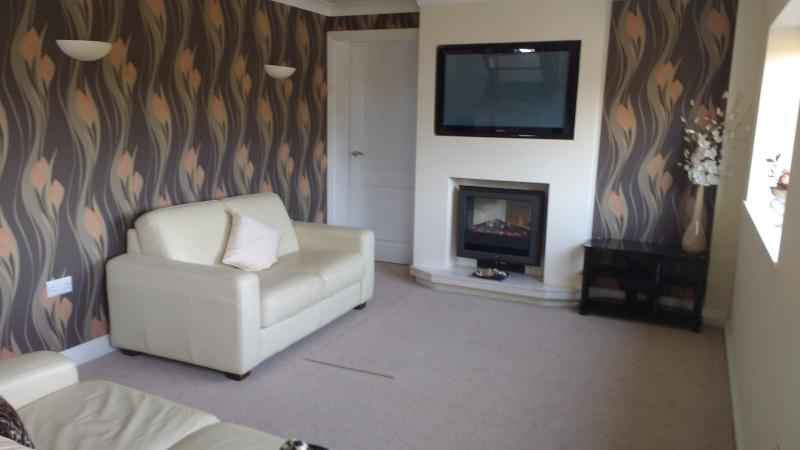 Another view of our lounge with electric living flame fire, TV, DVD, speaker system and wifi.