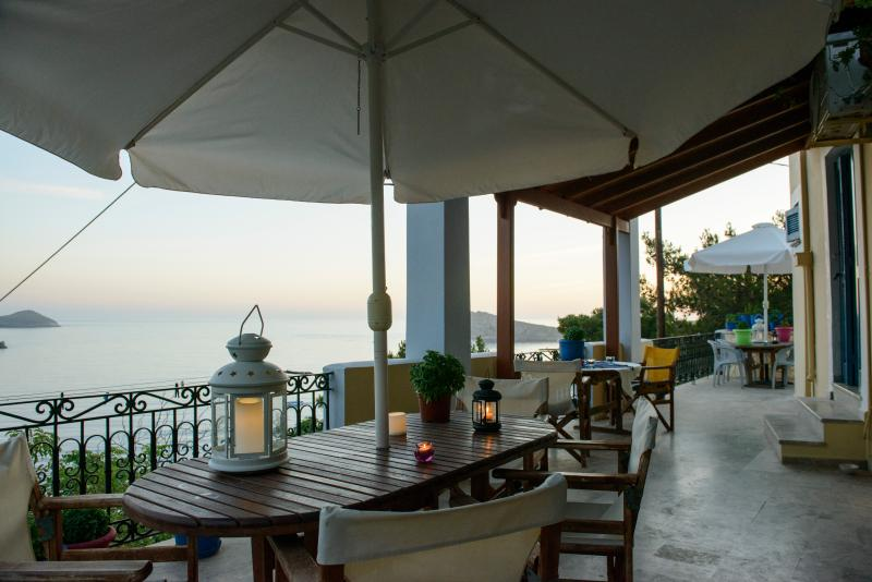 one of two large terrace with umbrella it's with fanatice seaview and romantic sunsets