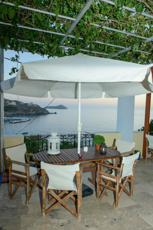 Large terrace of two bedrooms connecting with fantastic and romantic seaview at Melina's sunset